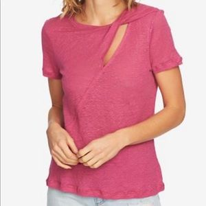 1.State Linen Twisted Cutout T-shirt Small Pink